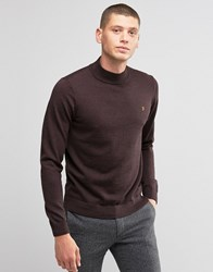 Farah Jumper In Merino Wool With Turtle Neck In Slim Fit Bordeaux B0rdeaux Red