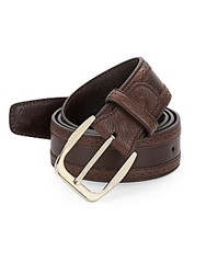 Brioni Brouged Leather Belt Brown