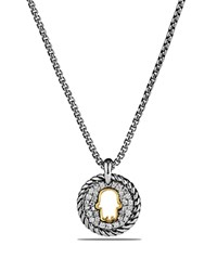 David Yurman Cable Collectibles Hamsa Charm Necklace With Diamonds With 18K Gold Silver Gold
