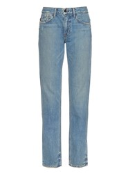 Helmut Lang Distressed High Rise Denim Jeans