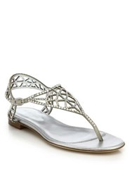 Sergio Rossi Tresor Crystal Embellished Silk Thong Sandals