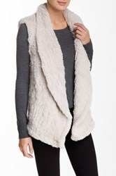 June Genuine Rabbit Fur Shawl Collar Vest Beige