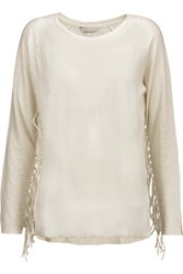 Rebecca Minkoff Jimmy Fringed Slub Linen Top Ivory