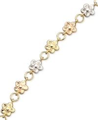 Macy's 14K Gold Over Sterling Silver And Sterling Silver Bracelet Bonded Flower Charm