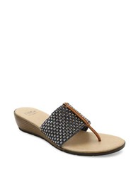 Andre Assous Nima Woven Demi Wedge Sandals Navy Blue