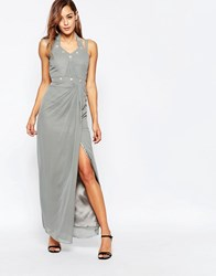 Vlabel London Bow Maxi Dress With Embellishment And Side Split Silver