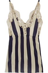 Rosamosario Striped Lace Trimmed Silk Georgette Camisole