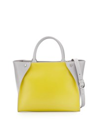 Charles Jourdan Orla Colorblock Leather Tote Bag Yellow Gray