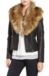 Love Token Women's Faux Leather Jacket With Removable Faux Fur Collar