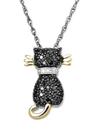 Macy's 14K Gold And Sterling Silver Necklace Black Diamond 1 5 Ct. T.W. And White Diamond Accent Cat Pendant