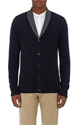 Barneys New York Men's Double Faced Cashmere Cardigan Navy Dark Grey Navy Dark Grey