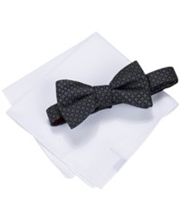 Alfani Men's Square Neat Bow Tie And Solid Pocket Square Set Only At Macy's Black