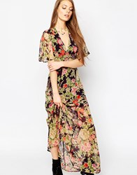 Asos Flutter Sleeve Maxi Dress In Floral Print Multi