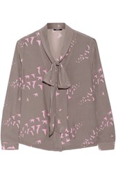 Raoul Flora Pussy Bow Printed Silk Crepe Blouse Gray