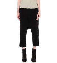 Rick Owens Dropped Crotch Cropped Velvet Trousers Black