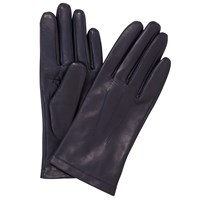 John Lewis Fleece Lined Leather Gloves Navy