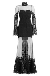 Jonathan Simkhai Floor Length Sheer Dress With Lace Gr. Us 4
