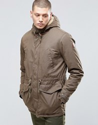 Element Roghan Waxed Long Parka Canteen Green With Quilted Lining Green
