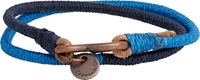 Caputo And Co Lacing Cord And Leather Wrap Bracelet Blue