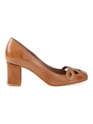 Sarah Chofakian Chunky Heel Pumps Brown