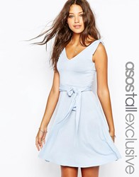 Asos Tall Bunny Tie Shoulder Beach Dress Pale Blue