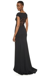 Lela Rose Open Back Gown Black