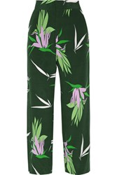 Marni Cropped Floral Print Wide Leg Silk Crepe De Chine Pants Forest Green