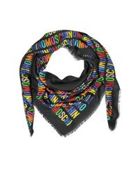 Moschino Signature Print Modal And Cashmere Wrap W Fringes Multicolor