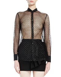 Saint Laurent Sheer Glittered Polka Dot Blouse Black