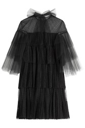 Valentino Polka Dot Tulle Dress With Tiered Sleeves Black
