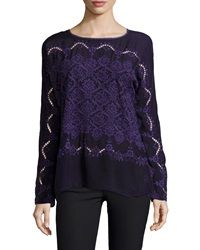 Johnny Was Embroidered Long Sleeve Top Women's