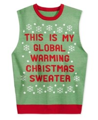 American Rag Men's Global Warming Graphic Print Sweater Vest Only At Macy's Green