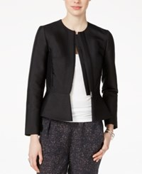 Armani Exchange Zip Front Peplum Blazer Solid Black