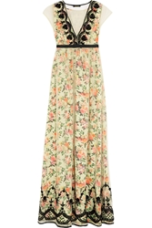 Vineet Bahl Embellished Tulle And Printed Satin Maxi Dress