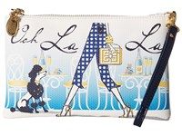 My Flat In London Ooh La La Zip Pouch Natural Black Clutch Handbags Beige