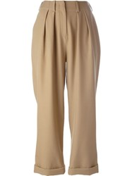 Jay Ahr Cropped Pleated Trousers Brown