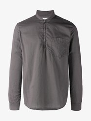 Our Legacy Shawl Zip Cotton Shirt Brown