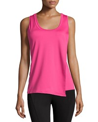 Neiman Marcus Active Perforated Flap Front Tank Hot Pink