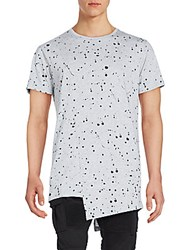 American Stitch Splatter Asymmetrical Cotton Tee Grey