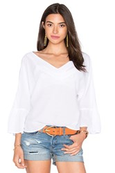 Enza Costa Peasant Voile Loose Ruffle Sleeve Top White