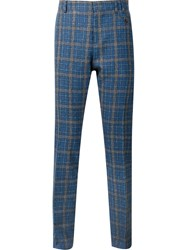 Vivienne Westwood Grid Print Slim Tailored Trousers Blue