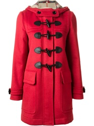 Burberry Brit Classic Hooded Duffle Coat Red