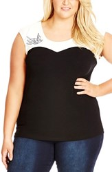 Plus Size Women's City Chic Embellished Swallow Colorblock Top