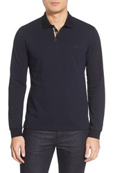Men's Burberry Brit 'Oxford' Long Sleeve Polo Dark Navy