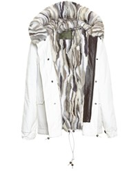 Mr And Mrs Italy Cropped Mink Fur Lined Parka White Grey Beige Chocolate Mink Dark Brown