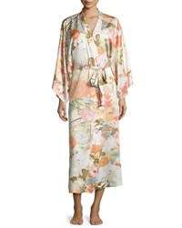 Natori Yuzen Floral Print Long Wrap Robe Antique