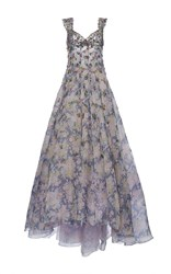 Luisa Beccaria Organdy Printed Gown With Raffia Embroidery