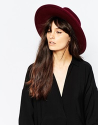 Whistles Felt Fedora Hat Burgundy