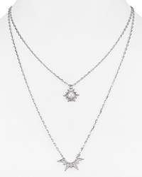 Rebecca Minkoff Double Pendant Star Necklace 16 White Silver