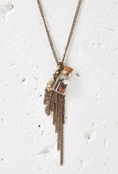 Forever 21 Feather Bottle Charm Necklace B.Gold Brown